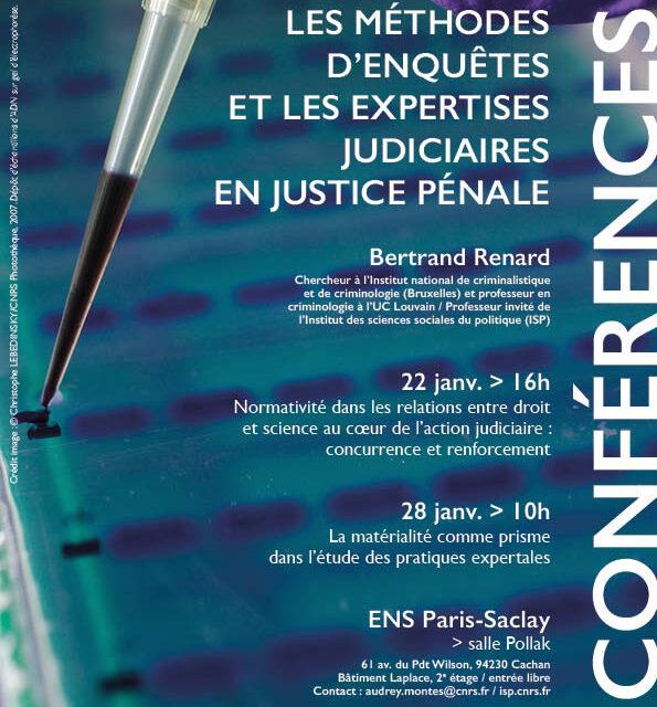 Conférences sur l'expertise judiciaire / Bertrand Renard, prof. invité de l'ISP