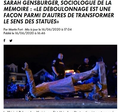 Sarah Gensburger, sociologue de la mémoire : «Le déboulonnage est une façon parmi d'autres de transformer le sens des statues» / CNEWS